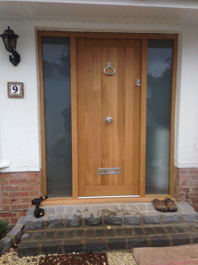 Oak Front Door with frosted sidelight windows