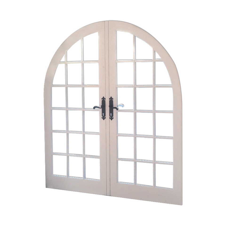 Double glazed arched hardwood door painted white