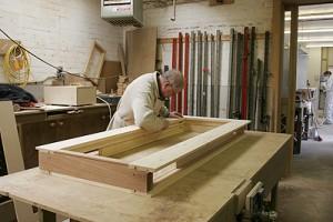 box sash windows painted white workshop