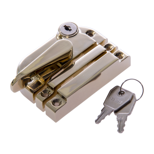 Contemporary locking sash fastener polished brass