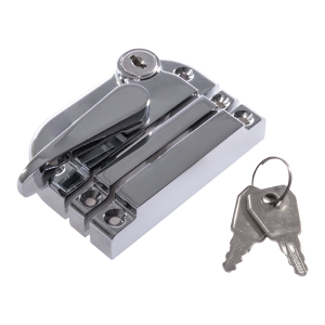 Contemporary locking sash fastener polished chrome