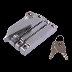 Contemporary locking sash fastener satin chrome