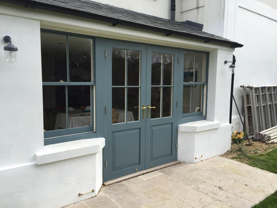 Double glazed hardwood french doors sash windows
