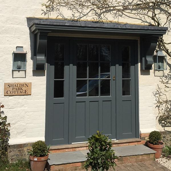 Hardwood Front Door painted grey