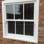 Hardwood sliding sash window painted double glazed