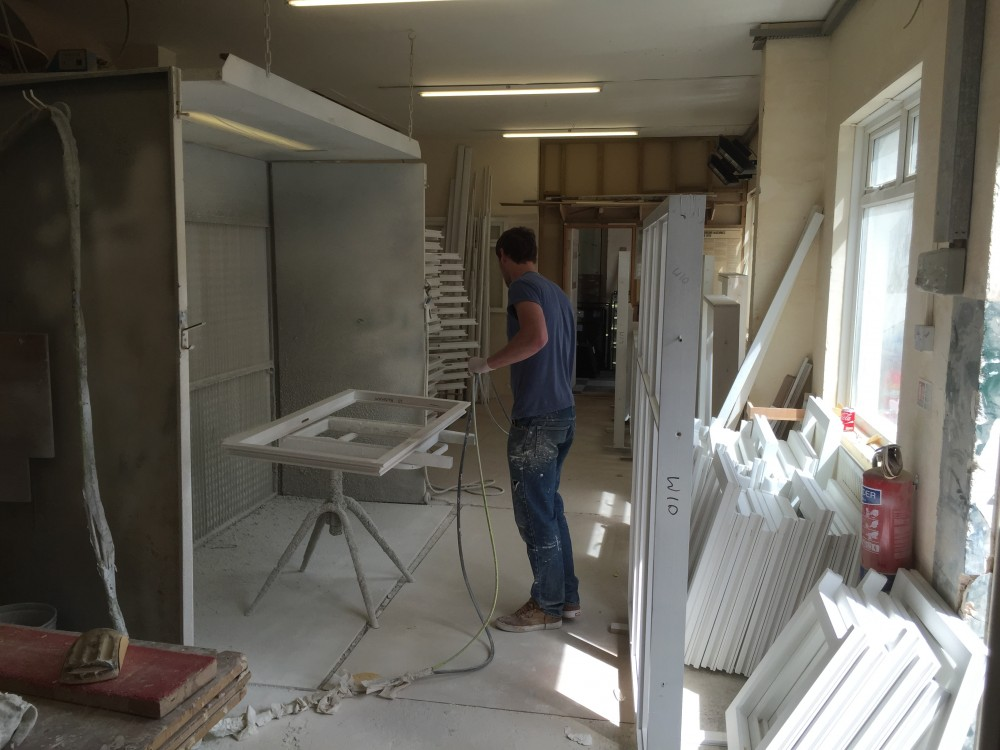 Painting timber windows workshop manfacture