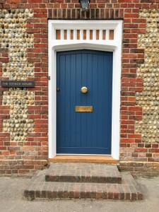 Blue Accoya Front Door painted blue oak