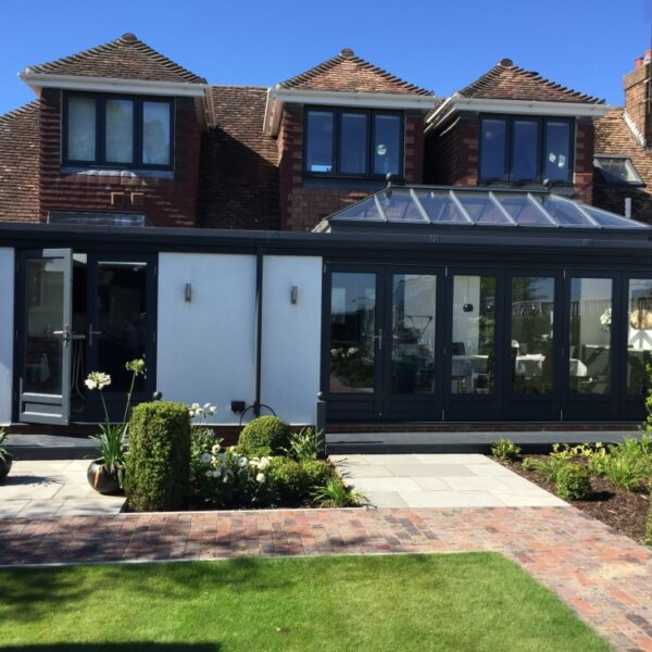 Timber Bifold doors, Timber Roof Lantern bi-fold