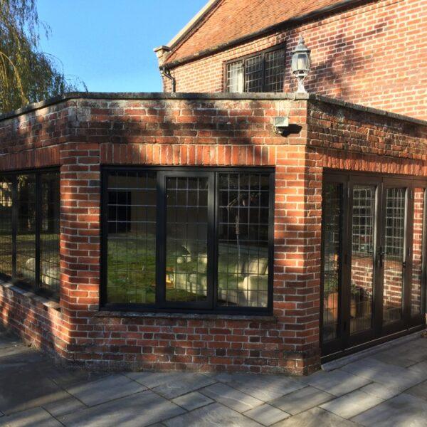 Oak windows french doors leaded glass jacobean