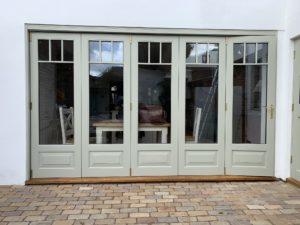 Accoya Bifold doors painted F&B French Grey
