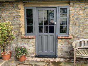 Grey Accoya timber Front door painted