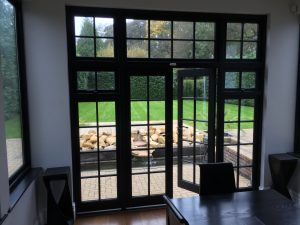 wooden French doors patio black Esher
