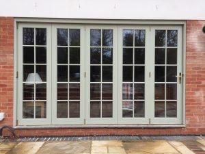 External Timber bifold folding patio doors