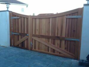 Curved top external Cedar gates