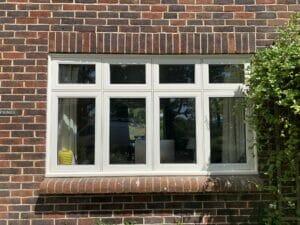 White Accoya timber flush casement window