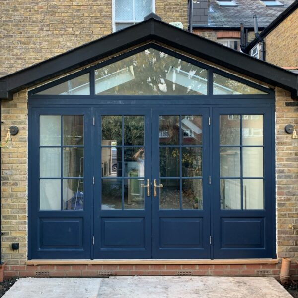 Blue Accoya timber French doors