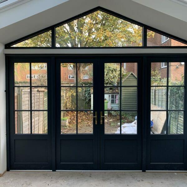 Blue Accoya timber glazed French doors